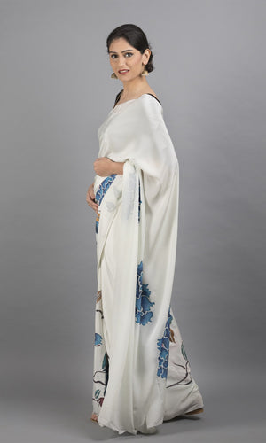 Handpainted crepe in white with blue floral design