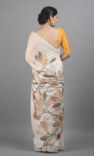 Handpainted crepe  in white with black  leaf floral design