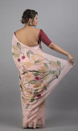 Handpainted georgette with peach and orange floral design