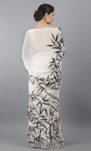 Handpainted georgette in white with black floral design