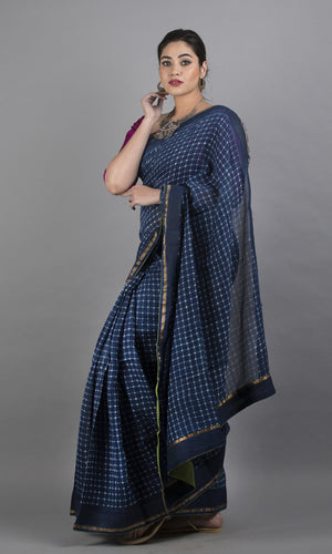 Handwoven chanderi silk cotton in blue  with geometric design