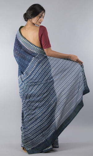 Kota doria  in blue with geometric design