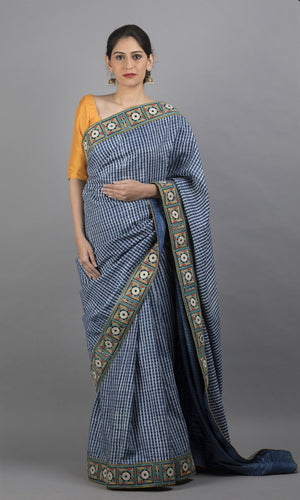 Handwoven kanchipuram silk in blue geometric design