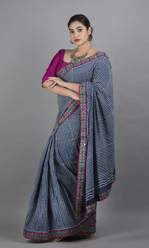 Mulmul cotton in blue geometric design