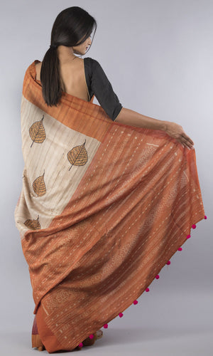 Handwoven geecha tussar silk in rust brown floral design