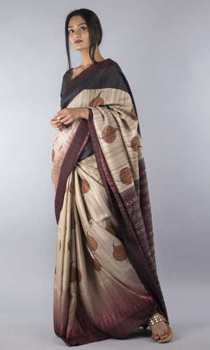 Handwoven geecha tussar silk in tobacco black floral design