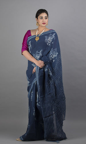 Handwoven blue modal silk in floral design