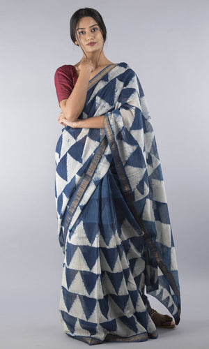 Handwoven maheswari silk in blue geometrical design
