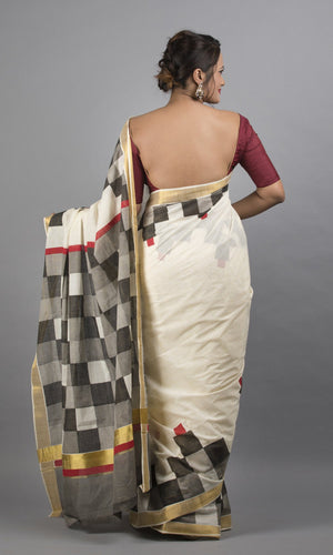 Kerala kasavu handblock printed in grey geometric design