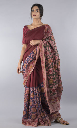 Red chanderi  silk cotton handpainted kalamkari floral design