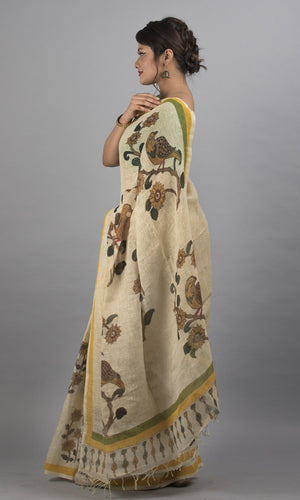 Handwoven linen in cream handpainted kalamkari floral design