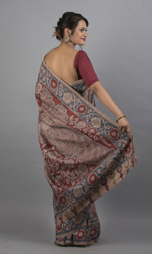 Handwoven tussar silk with handpainted kalamkari fawn colour floral design