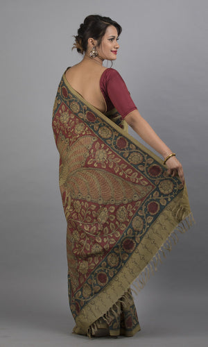 Handwoven tussar silk with handpainted kalamkari  green floral design