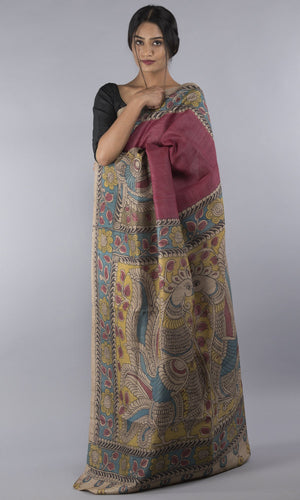 Handwoven tussar silk with handpainted kalamkari red  floral design