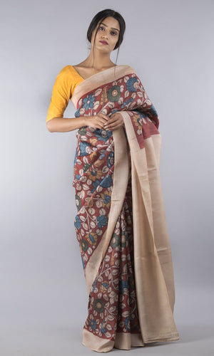 Handwoven tussar silk with handpainted  kalamkari cream floral design