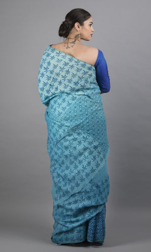 Handwoven linen in blue handblock printing geometric design