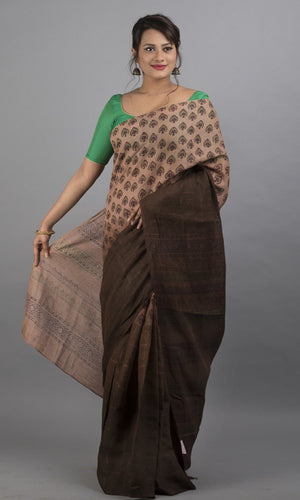 Handwoven linen in brown with handblock printed floral design