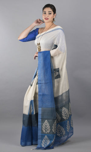 Handwoven linen silk with handblock printed in blue and grey floral design