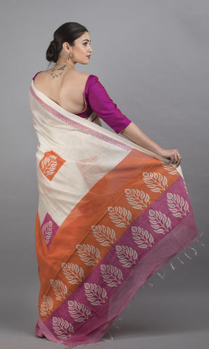 Handwoven linen silk with handblock printed pink and orange floral design