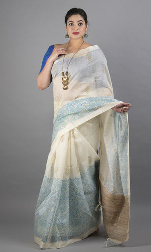Handwoven linen silk with handblock printed kalamkari cream and blue floral design