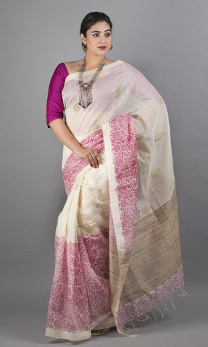 Handwoven Linen Silk with handblock printed  kalamkari cream and pink floral design
