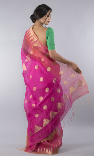 Handwoven linen tussar silk jamdani in pink and gold
