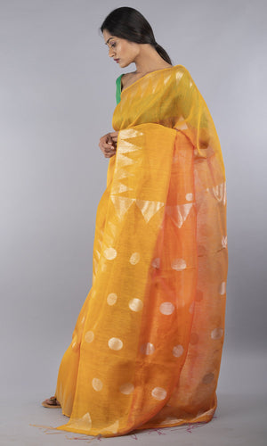Handwoven linen tussar silk jamdani in mustard and gold