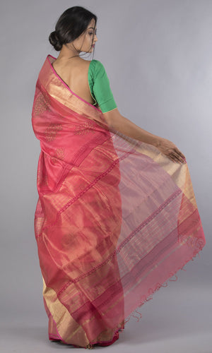 Handwoven maheswari silk handblock printed in peach and maroon floral design