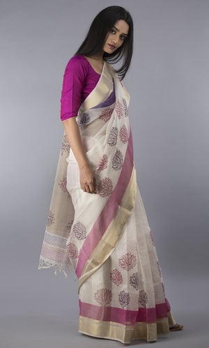 Handwoven maheswari silk handblock printed in  pink and violet floral design
