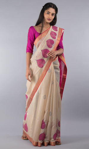 Handwoven maheswari silk cotton handblock printed in cream and pink floral design