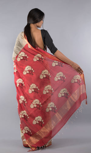 Handwoven maheswari silk cotton handblock printed in cream and red floral design