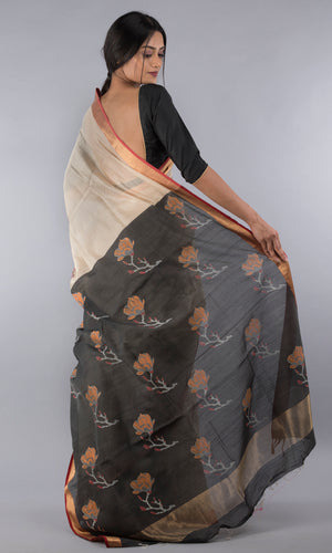 Handwoven maheswari silk cotton handblock printed in black and pink floral design