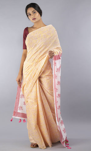 Mulmul cotton with handblock printed  pink and mustard  floral design