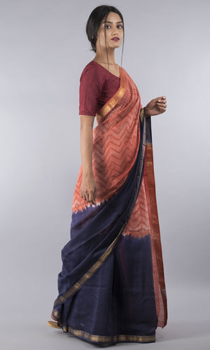 Chanderi silk cotton shibori in red and blue geometric  design