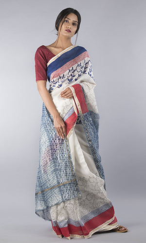 Chanderi silk cotton hand-stitched shibori in blue and red geometric design
