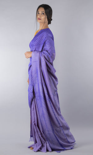 Handwoven tussar silk shibori in  violet geometric design