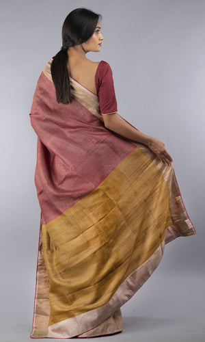 Handwoven tussar jacquard in cream and pink design