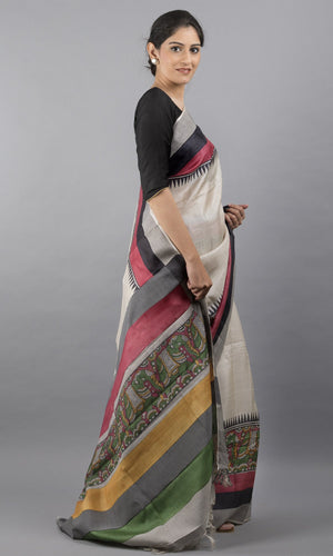 Handwoven tussar silk with handblock print in green and mustard floral design
