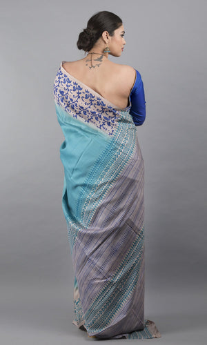 Handwoven tussar silk with handblock print in blue and cream  floral design