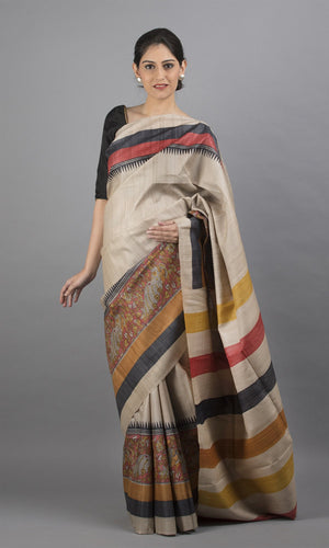 Handwoven tussar silk with handblock print in cream maroon and black floral design