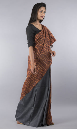 Handwoven tussar with handblock printed in grey and rust  floral design