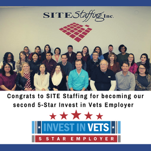 Wisconsin Veterans Chamber Announces SITE Staffing as a Five Star Invest in Vets Employer