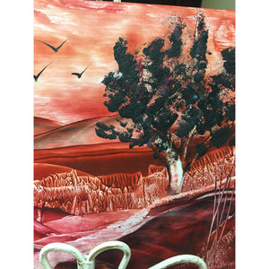 "Encaustic Wax Art painting ""Mystery Sunset' - Mystery Art & Jewelry"