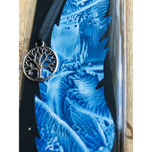 Encaustic bookmark Tree charm - Mystery Art & Jewelry