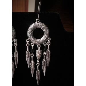 owl feather earrings - Mystery Art & Jewelry