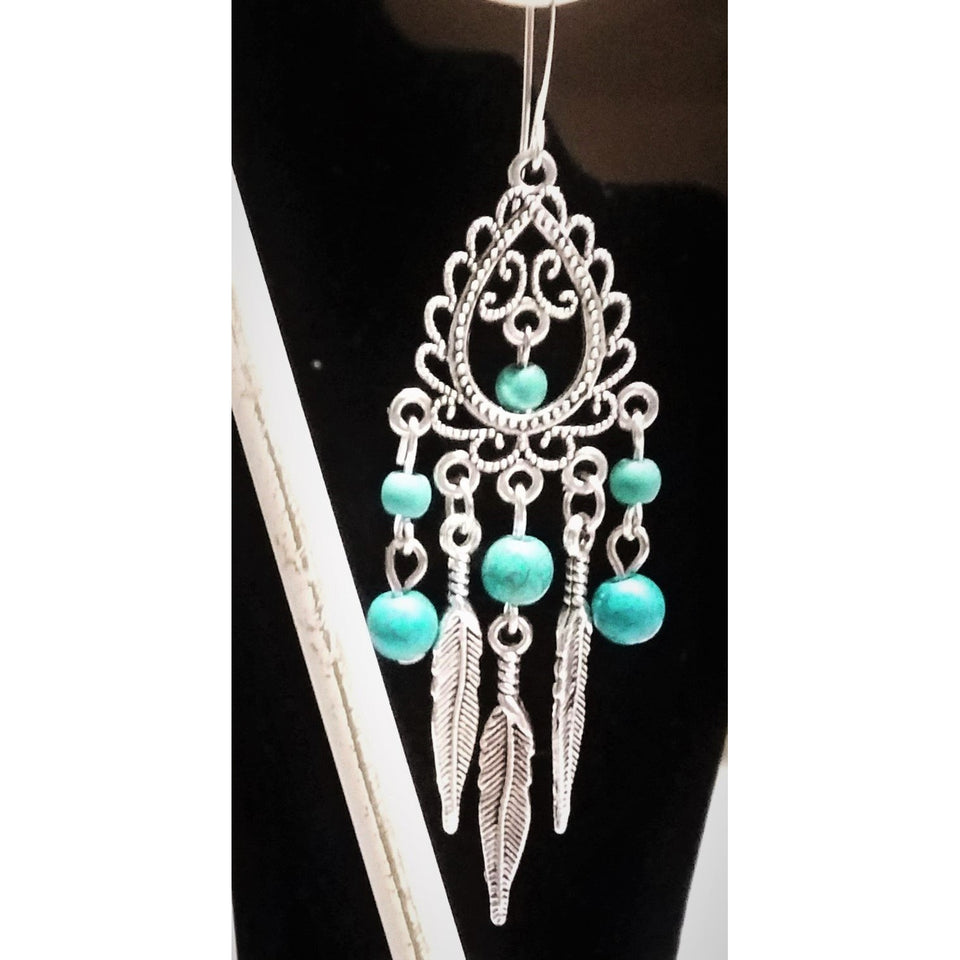 Chandelier Feather Earrings turquoise stone - Mystery Art & Jewelry
