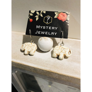 White stone elephant earrings - Mystery Art & Jewelry