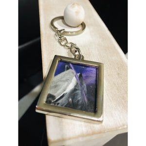 Encaustic keychain purple sky - Mystery Art & Jewelry