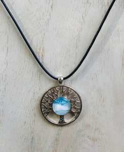 """Tree of Life"" Silver & Encaustic Beeswax Handmade Pendant"