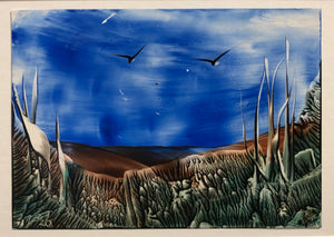 "One of a Kind Original Encaustic Iron Artwork Painting - ""Escape"""